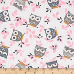 Tossed Owls White/Gray/Pink Fabric