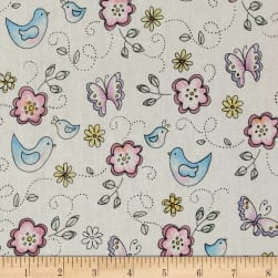 Birds & Butterflies White/Multi Fabric