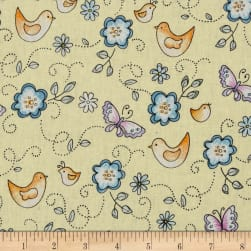 Birds & Butterflies Maize/Multi Fabric