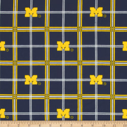 University of Michigan Flannel Plaid Fabric