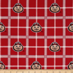 Collegiate Cotton Flannel Ohio State University Plaid Fabric