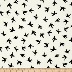Telio Moda Crepe Bird Print White/Black Fabric