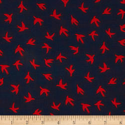 Telio Moda Crepe Bird Print Navy/Red Fabric