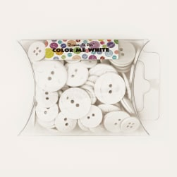 Dress It Up Color Me Collection Pillow Pack Buttons White