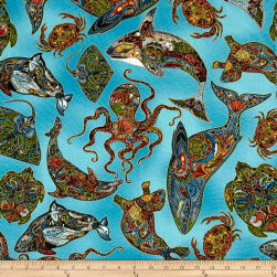 Animal Spirits Metallic Sea Life Earth Fabric