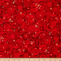 Stargazers Star Texture Red Metallic Fabric