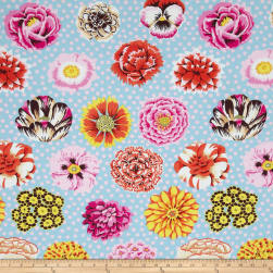 Kaffe Fassett Collective Big Blooms Duckegg Fabric