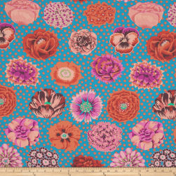 Kaffe Fassett Collective Big Blooms Turquoise Fabric