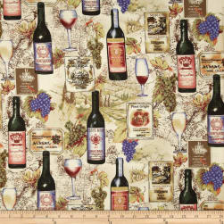 Vineyard Collection Wine Collage Ivory Fabric