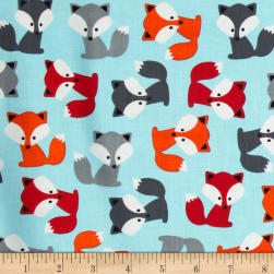 Urban Zoologie Foxes Sky Fabric