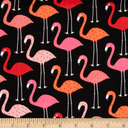 Urban Zoologie Flamingos Black Fabric