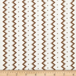 Dots and More Zig Zags & Dots White/Brown Fabric