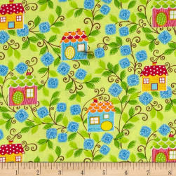 Sweet Tweet Sunshine Birdhouse Lime Fabric