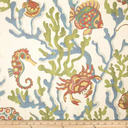Swavelle/Mill Creek Crab Walk Jacquard Aqua Fabric
