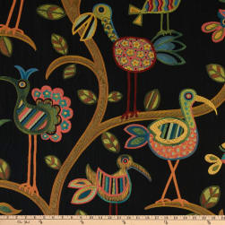 Swavelle/Mill Creek Crazy Ol' Bird Jacquard Midnight Fabric