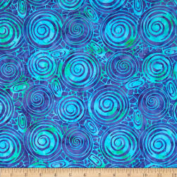 Indonesian Batiks Circles Lagoon Fabric