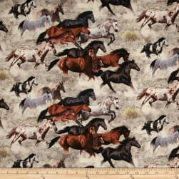 Happy Trails Allover Horses Earth Fabric