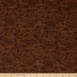 """108"""" Wide Quilt Back Swirly Scroll Brown"""