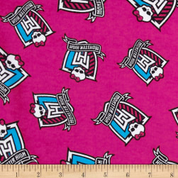 Monster High Flannel Crest Toss Monster Pink Fabric