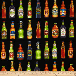 Cheers Beer Bottles Black Fabric