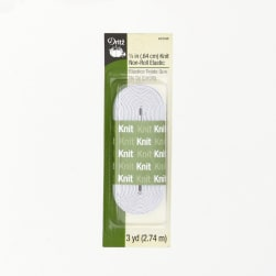 "Knit Non-Roll Elastic 1/4""X3yd-White"