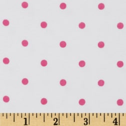 Comfy Flannel Dots White/Hot Pink