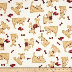 Comfy Flannel Tossed Dogs Beige Fabric