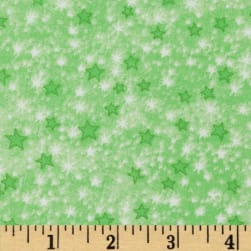Comfy Flannel Stars Green Fabric