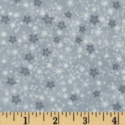Comfy Flannel Stars Grey Fabric