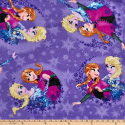 Disney Frozen Fleece Sisters Ice Skating Snowflake Badge Purple Fabric