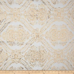 Starlight Sequined Mesh Damask Gold Fabric