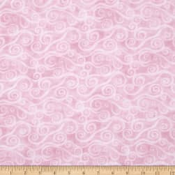"108"" Wide Quilt Back Flannel Swirly Scroll Pink"