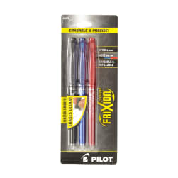 Pilot FriXion Extra Fine Point Erasable Gel Pens 3Pkg Black, Blue & Red
