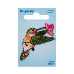 Simplicity Iron On Applique Hummingbird W/Flower