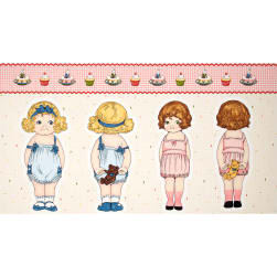 Penny Rose Paper Dolls Bakery Paper Dolls 2 24'' Panel Pink Fabric