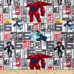 Disney Big Hero 6 Character Toss White Fabric
