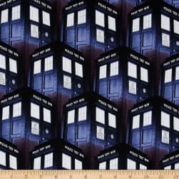 BBC Doctor Who Packed Tardis Blue Fabric