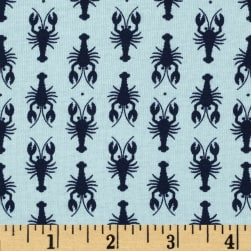 Riley Blake Lobster Jersey Knit Blue Fabric