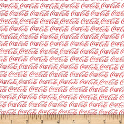 Coca Cola Allover White Fabric