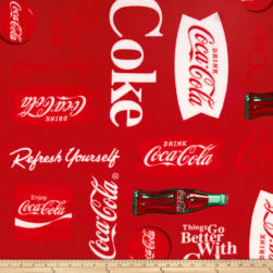 Coca Cola Fleece Words Allover Red Fabric