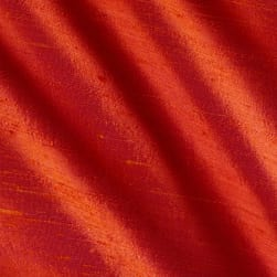 Dupioni Silk Fabric Iridescent Coral Fabric