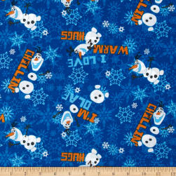 Disney Frozen Olaf Chillin' Allover Blue Fabric
