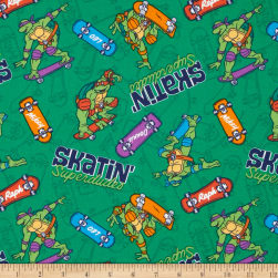 Teenage Mutant Ninja Turtles Skatin' Superdudes Green Fabric