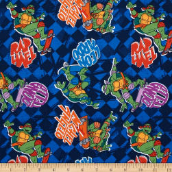Teenage Mutant Ninja Turtles Skate Boarding Blue Fabric