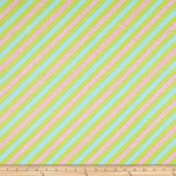 Frosty Flakes Diagonal Knit Stripe Blue Fabric
