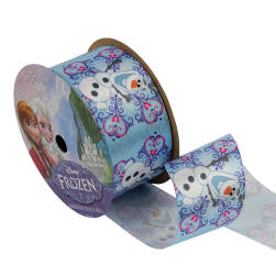"1 1/2"" Frozen Ribbon Olaf Snowflake White 3YD Spool"