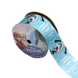 "1 1/2"" Frozen Ribbon Olaf Name Blue 3YD Spool"