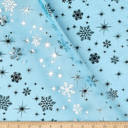 Snow Foil Organza Turquoise/Silver Fabric