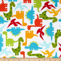 Urban Zoologie Flannel Dino's White Fabric