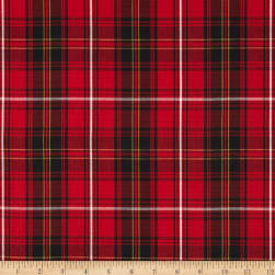 House of Wales Lawn Plaid Red Fabric